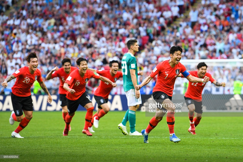 Korea Republic celebrates after victory against Germany at World Cup 2018
